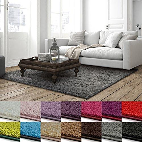 casa pura Shaggy Teppich Barcelona | weicher Hochflor Teppich für Wohnzimmer, Schlafzimmer, Kinderzimmer | GUT-Siegel + Blauer Engel | Verschiedene Farben & Größen | 160x230 cm | Grau