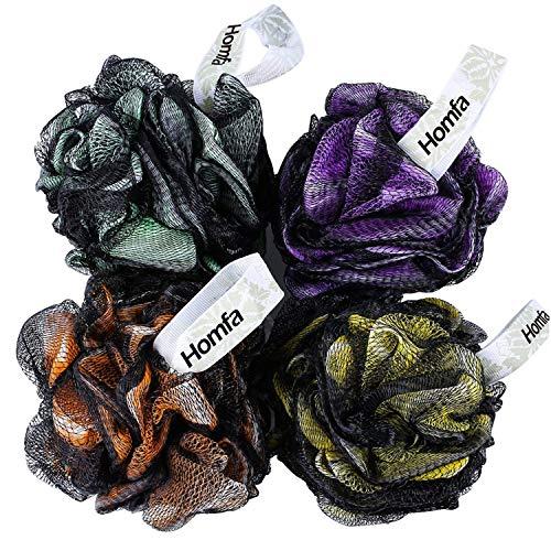 HOMFA Esponja de Baño 4 pack Esponja de Ducha Suave Esponjas de flor XL Cada 75g