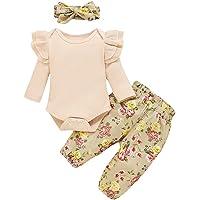 Nouveau-né bébé Tenues Filles vêtements 3 pièces Ensembles à Manches Longues tricoté Barboteuse Haut imprimé Floral…