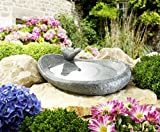 Abreuvoir pour oiseaux en céramique, lasuré, dans naturel effet pierre Gris moucheté avec aufsteckbarem Oiseau, env. 34x 24,5cm