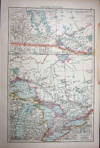 1896 Antike Karte (VORGESETZTER 1896 KARTEN-KANADAS ONTARIO QUEBEC HURONE MANITOBA)