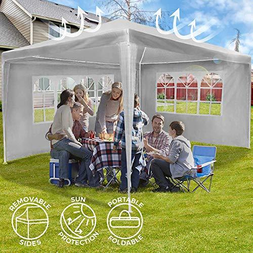 Nova - Cenador de jardín de 3 x 4 m, 4 Paneles Laterales extraíbles, Impermeable, protección UV 30+...
