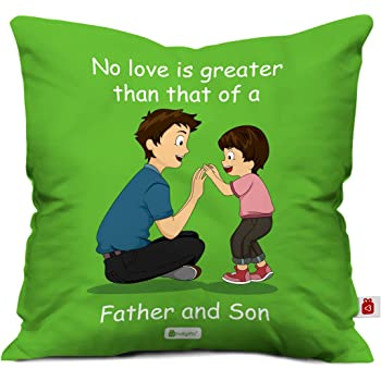 Indigifts Dad Birthday Gifts Father Son Love Quote And Playing Green Cushion Cover