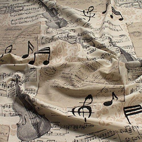 Stoff Baumwolle Polyester Geige Trompete Noten Notenschlüssel klassische Musik (Stoff Noten)