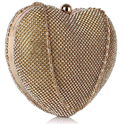 LeahWard® Heart Forme Embrayage Sacs De Soirée Portefeuilles MariageSacs À Main Bridal Embrayage Avec chaîne Sangle 330 Or Sparkly Cristal Diamante Heart Shaped