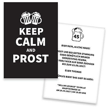 Einladungskarten Geburtstag KEEP CALM   100 Stück   Prost   Inkl. Druck  Ihrer Texte   Einladungskarten Zum Geburtstag   Geburtstagskarten    Individuelle ...