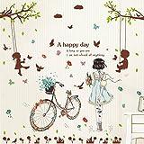 Wandkunst Aufkleber, Schlafzimmer Wand Aufkleber Zimmer Fahrrad Mädchen, Radfahren Mädchen Schaukel Liebhaber, Oversize