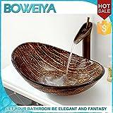 AllureHome juego de vasos lavabo barco / de vidrio templado fregadero cuarto de baño contemporáneo pintado a mano artística (L560mm * * H175mm W370mm)
