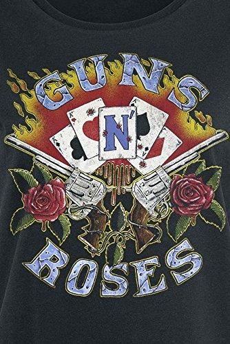 Unbekannt Guns N' Roses Cards Girl-Shirt Schwarz Schwarz