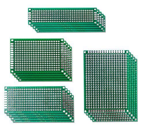 Aihasd 20Stk 5x7 4x6 3x7 2x8CM Double Side Lochrasterplatte Lochrasterplatine Leiterplatte Platine PCB Universal Board