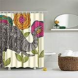 QEES Duschvorhang aus Stoff Wasserdichter Duschvorhang mit verstärktem Saum Anti-Schimmel Textilien Wasserabweisend Dusche Vorhang Verschiedene BIlder zu wählen YLB01 (M, Elefant 1)