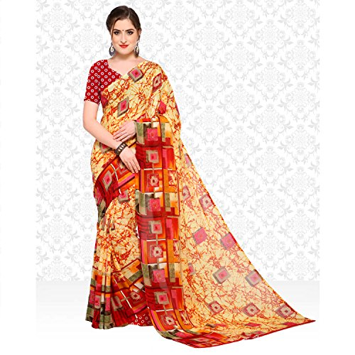 sarvagny clothing daily wear printed georgette saree with blouse piece