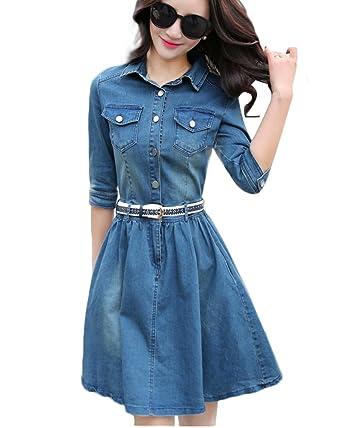 Jeans kleid knielang