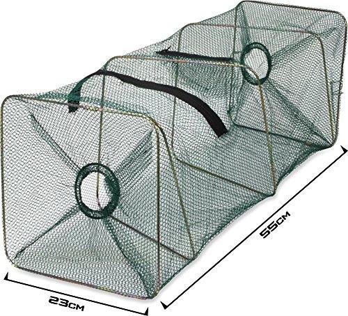 55 cm Köderfisch Kleinfisch Reuse mit Reißverschlussöffnung und Futternetz - Aal, Krebs, Shrimps, Basquet, Teich, Aquarium