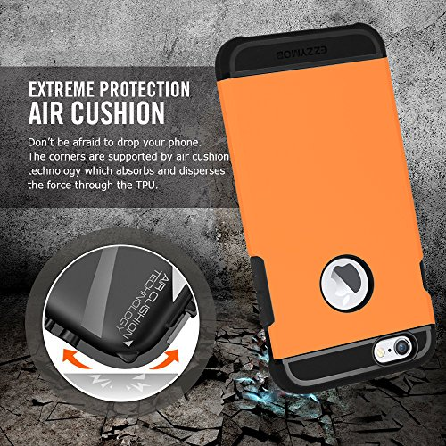 iPhone 6 Fall und iPhone 6 Plus Schutzhülle, ezzymob® Heavy Duty, Ultra Slim Hybrid Armor Hülle, stoßfest TPU Gummi und Polycarbonat für Apple iPhone 6/6S und Apple iPhone 6 Plus. iPhone 6 (4.7-inches) Orange