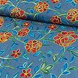 Jeansstoff Stickerei Blumen allover dunkelblau - Preis gilt