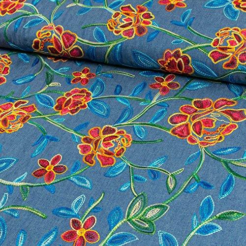 Jeansstoff Stickerei Blumen allover dunkelblau - Preis gilt für 0,5 Meter - (Blume Hose Bestickt)