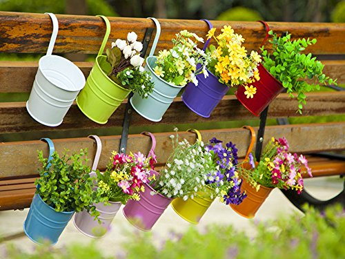 Dipamkar® Set of 10 Metal Pots Hanging Plant Pots Flower Pots With Drainage Hole Flower Bucket Balcony Planter Garden Home Ornaments