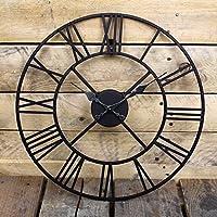 Large Black Vintage Metal Roman Numeral Clock Antique Skeleton Hanging Wall Clock Wilsons Direct (40cm)