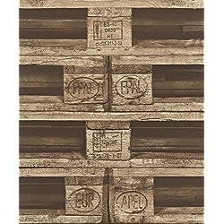 Las paletas de madera tejida fondo de pantalla de papel crujiente rasch 524116 marrón