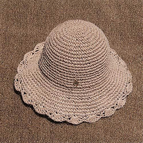 Neue häkeln Hut weibliche Mode einfache persönlichkeit SommerUrlaub am MeerWind handgewebte großewaschbecken Cap rosa M (56-58 cm)