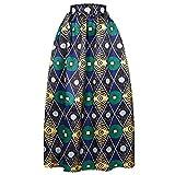 Romacci Women Skirt African Print Ankara Dashiki Bohemian High Waist Pleated A-Line Maxi Flare Skirt