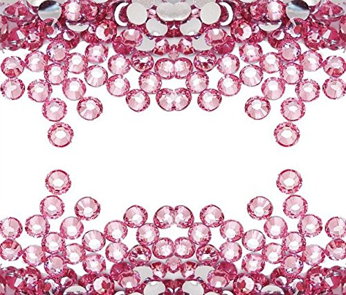env. 100 Strass Rose ronde rose de Rose - Strass Nail Art Style - Cute Nails