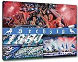 Ultras Sechzig Collage, Bild auf Leinwand Panorama, fertig gerahmt, 120 x 80 cm