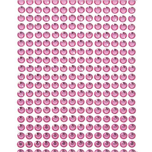 Smartfox 900 Stück Strasssteine Glitzersteine Strass Kristalle Steine rund, Ø 4 mm, selbstklebend, aus Acryl, Pink