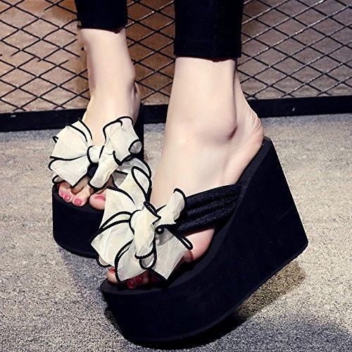 12cm Femelle antidérapante Chaussures de plage de sable épais Doux bow chaussures décontractées sandales 9 sortes de couleurs ( Couleur : #9 , taille : EU36/UK3.5/CN35 ) #5