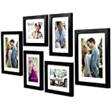 Art Street -Photo Frame Set Black Chief 6 Pcs (Photo Size 8x10 Inches - 2 Units, 6x8 inches 4 Units. (Free Hanging Accessorie