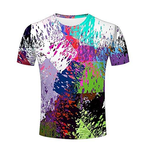 Unisex Men 3D Shirts Color Splashing Funny Printed Lingshirt Graphics Tees