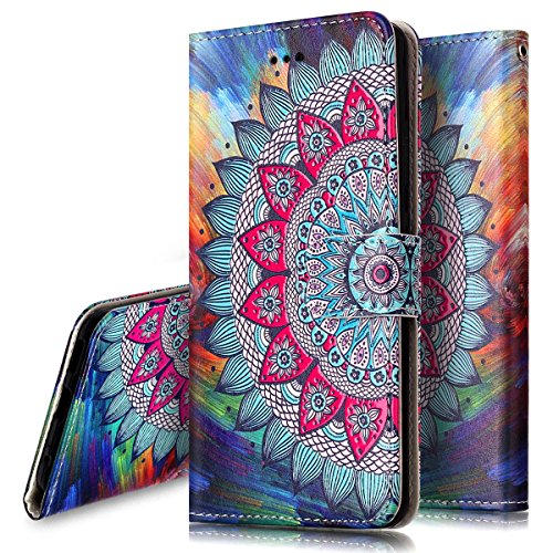 Coque Etui pour LG G6,LG G6 Coque Portefeuille PU Cuir Etui,LG G6 Coque de Protection en Cuir Folio Housse, iPhone 7 Leather Case Wallet Flip Protective Cover Protector, Ukayfe Etui de Protection PU C La moitié fleur