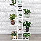 Massivholz Boden - Stil Blumentöpfe Balkon Wohnzimmer Regale Grün Rettich Bonsai Indoor Pflanzen Regale L * W * H: 76 * 25 * 142CM ( Farbe : Weiß )