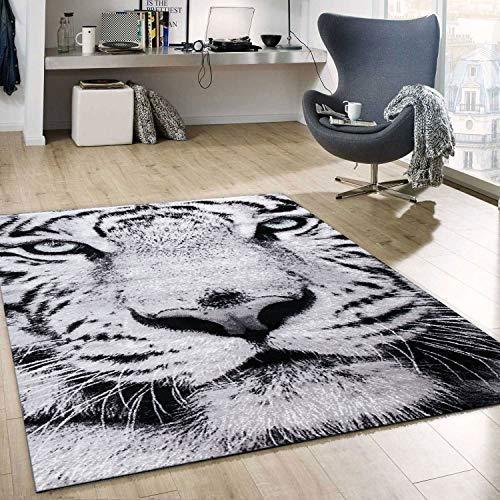 VIMODA Teppich Kurzflor Schnee Tiger Katze Weiß Wild Grüne Augen für das Wohnzimmer, Maße:80x150 cm