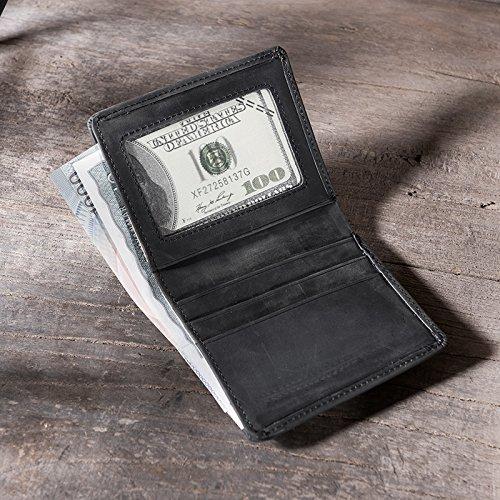 Wallet, Retro dünn, vertikale Kopf Schicht, Rindsleder, kurze Brieftasche, handgefertigte Tasche, Kaffee Black