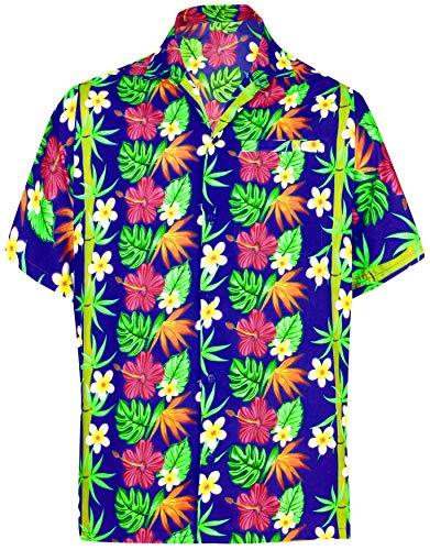 LA LEELA männer Hawaiihemd Kurzarm Button Down Kragen Fronttasche Beach Strand Hemd Manner Urlaub Casual Herren Aloha Königsblau_508 7XL Likre 1906