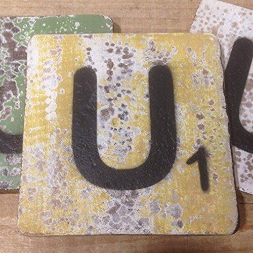Holzbuchstaben, Deko Buchstaben aus Holz, im Scrabble-Look quadratisch Größe ca. 10 cm x 10 cm, Shabby Chic, Balsa Holz, Buchstabe U