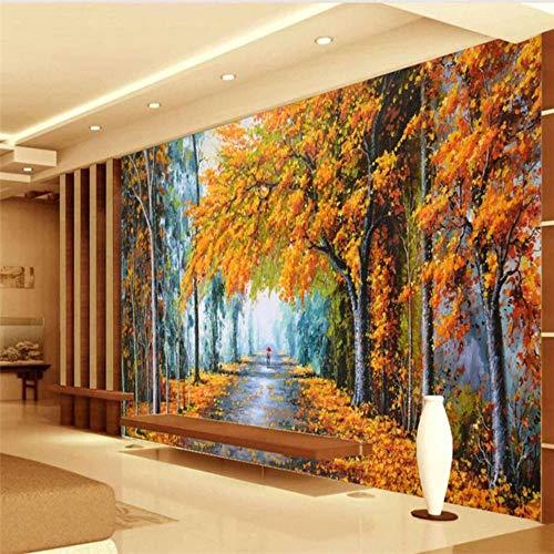 Benutzerdefinierte 3D Wallpaper Herbst Romantische Warme WaldWandpapier Sofa Wohnzimmer Schlafzimmer Tv Hintergrundwand, 400 × 280 Cm