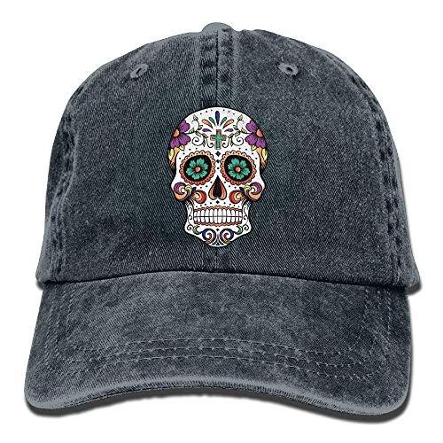 JIEKEIO Funny Baseball Caps Hats Denim Baseball Hat Sugar Floral Skull Adult Vintage Washed Cotton Adjustable ()