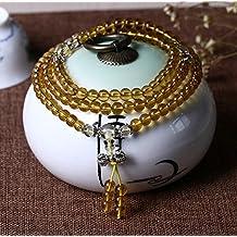 K&C 108 Beads potere curativo di cristallo di stirata braccialetto in rilievo regalo unico multistrato Malas di preghiera borda il braccialetto giallo chiaro - Sterling D'oro In Rilievo Bracciali
