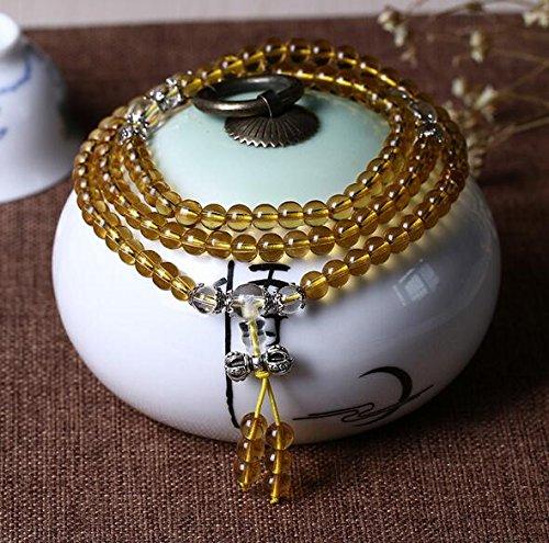 Preisvergleich Produktbild K&C 108 Perlen Heilende Kraft Kristall Stretch Perlen Armband Einzigartiges Geschenk Multilayer Malas Gebet Perlen Armband Hellgelb