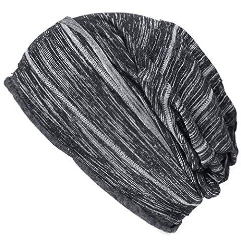 Casualbox Mens Womens Big Slouchy Baggy Beanie Hat Striped Design