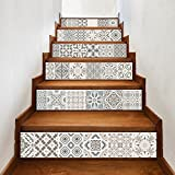 6 pcs/Set DIY rétro couleur floral impression autocollants d'escalier amovible autocollants