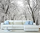 StickersWall Winter Wonderland Snow Forest Trees Landscape Scenery Wall Mural Photo Wallpaper Picture Self Adhesive 1028 (342cm(W) x 242cm(H))