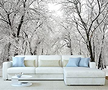StickersWall Winter Wonderland Snow Forest Trees Landscape Scenery Wall Mural Photo Wallpaper Picture Self Adhesive 1028