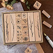 20 Pieces Vintage Wooden Rubber Stamps, Plant & Flowery Decorative Mounted Rubber Stamp Set for DIY Craft,