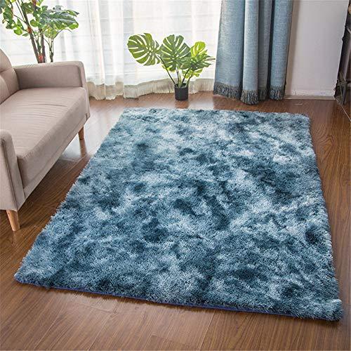 TROYSINC - Alfombra de Pelo Largo, para salón, Dormitorio, Azul, 60 x 120 cm