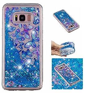 Shinyzone Glitzer Flüssigkeit Hülle für Samsung Galaxy S8,Blau Schmetterling kreativ 3D Gemalt Muster Handyhülle,Bling Treibsand Liebe Herz Fließend Weich TPU Schutzhülle