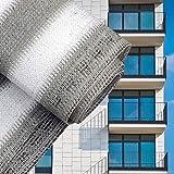 Sichtschutz Balkonsichtschutz Grau Weiß 75cm Balkonverkleidung Windschutz Balkon Sichtblende